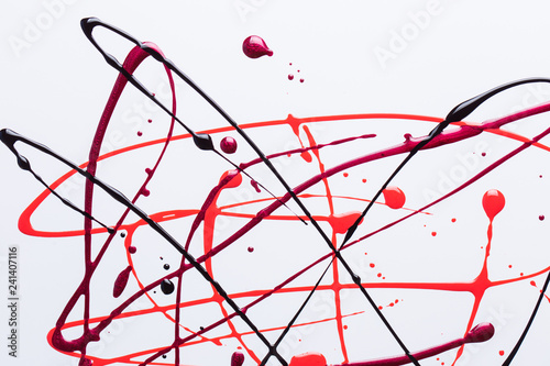 Fotografie, Obraz  Nail polish on a white background in the form of strips and drops