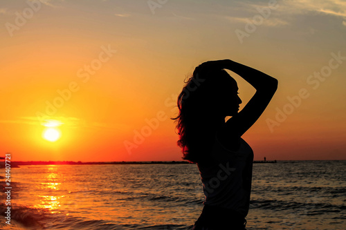 Nice Girl Profile Silhouette On The Sea Sunrise Beautiful Woman In Sea During Sunset Girl In Sea Buy This Stock Photo And Explore Similar Images At Adobe Stock Adobe Stock