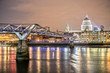 St. Paul's Cathedral and Millennium Bridge at Night