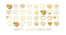 Valentines Day Background With Gold Heart. Vector Illustration