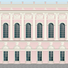 Light Pink Cream Facade Classic Palace Wall Backround Seamless