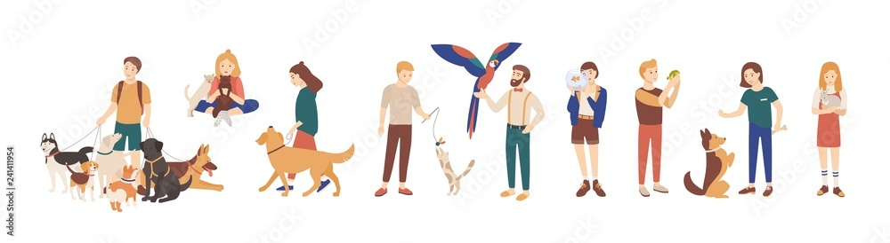 Fototapeta Bundle of pet owners isolated on white background. Collection of men and women holding their domestic animals, walking and playing with them. Set of male and female characters. Vector illustration.