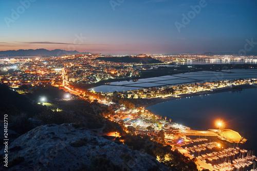 Fotografie, Obraz Cagliari city panorama at night