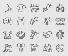 Line Icons Set For People Talk...