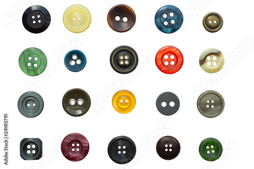 Poster Macarons Set of various vintage sewing buttons isolated on white background