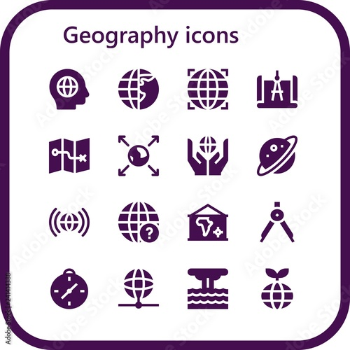 Foto  Vector icons pack of 16 filled geography icons