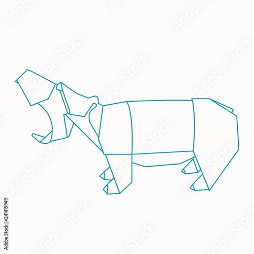Hippopotamus - Origami - Hippo | Papier falten, Origami, Falten | 500x500
