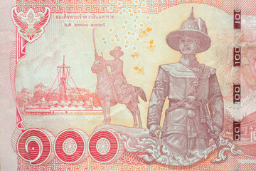 Close-up detail of Thai baht banknote.  baht is the national currency of Thailand.