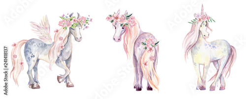 Fototapeta Magic Unicorn, Pegasus and Pony. Watercolor illustration, beauti