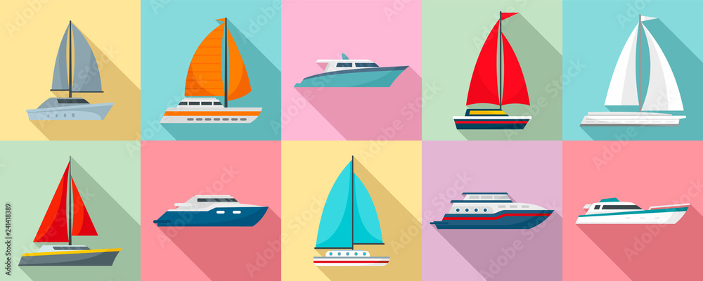 Fototapeta Yacht icon set. Flat set of yacht vector icons for web design