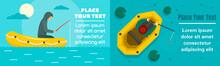 Fishing Inflatable Boat Banner Set. Flat Illustration Of Fishing Inflatable Boat Vector Banner Set For Web Design