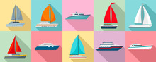 Yacht Icon Set. Flat Set Of Ya...