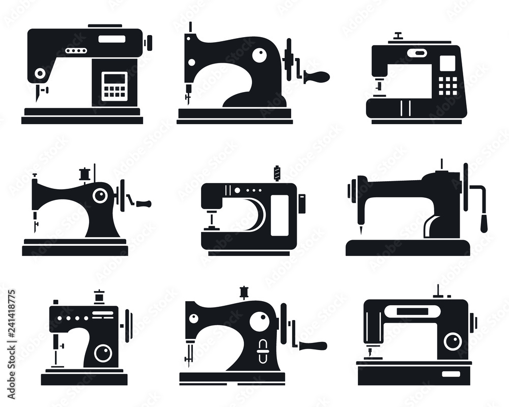Fototapeta Quality sew machine icon set. Simple set of quality sew machine vector icons for web design on white background