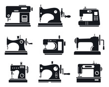 Quality Sew Machine Icon Set. ...