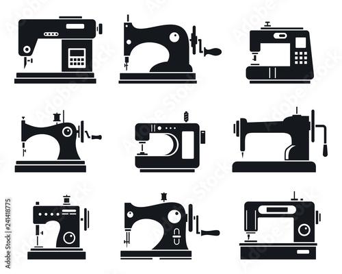 Obraz na plátne Quality sew machine icon set