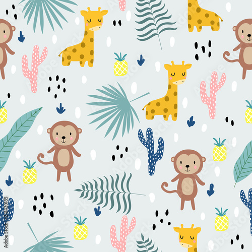 Seamless pattern with African animals, monkey, giraffe and tropical plants. For printing on children's clothes. Scandinavian style. Hand-drawn.