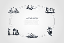 Active Hikers - People Riding Bicycles, Having Rest With Camping In Forest, Hiking With Family, Orienting With Map, Driving Kanoe, Taking Photo Vector Concept Set