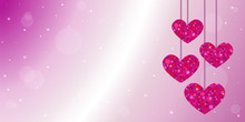 Happy Valentine's Day Card Background With Hanging Red Glitter Hearts