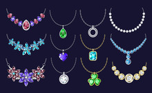 Necklace Icon Set. Realistic Set Of Necklace Vector Icons For Web Design Isolated On Black Background