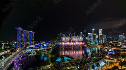 Singapore skyline at night ...