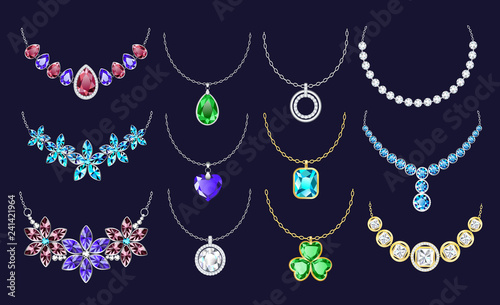 Necklace icon set Canvas