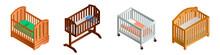 Crib Icon Set. Isometric Set Of Crib Vector Icons For Web Design Isolated On White Background