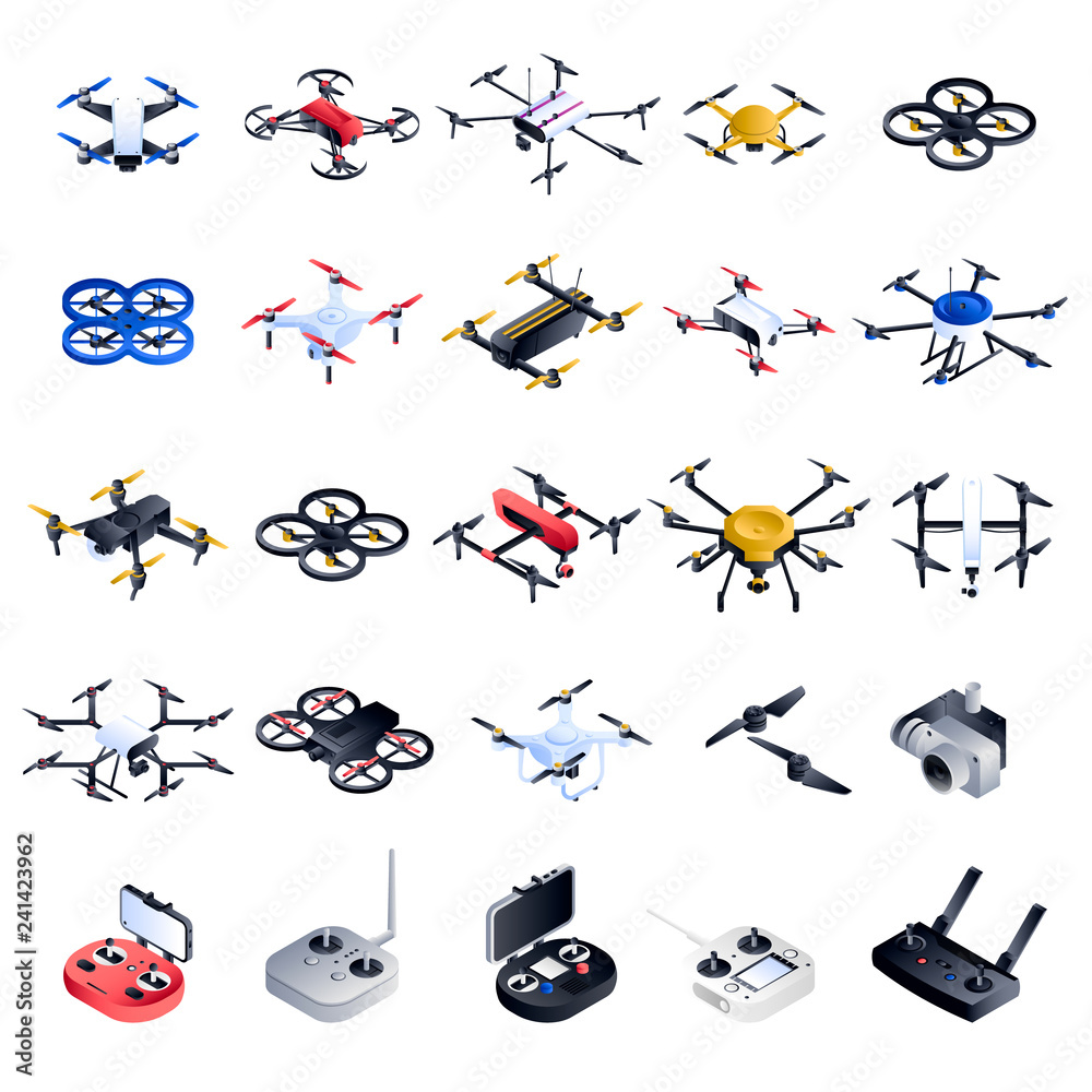 Fototapety, obrazy: Drone icon set. Isometric set of drone vector icons for web design isolated on white background