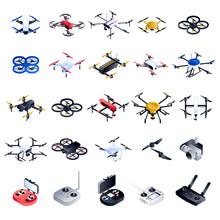 Drone Icon Set. Isometric Set ...