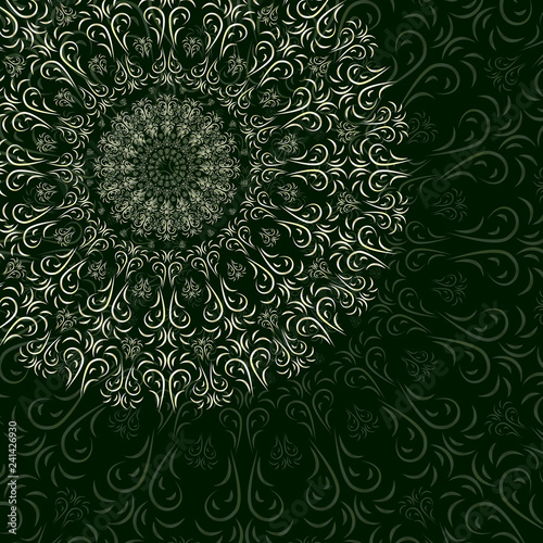 Fotografie, Obraz  Oriental floral ornament, mandala on a dark blue background for your design