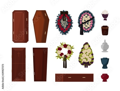 Stampa su Tela Collection of attributes for funeral, burial ceremony, mortuary rituals isolated on white background - coffin, urn, wreath, bouquet of flowers