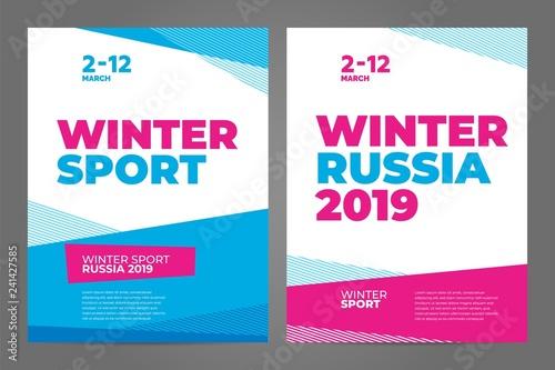 Fototapeta Layout poster template design for winter sport event, tournament or championship. 2019 trend. obraz