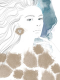 Young beautiful woman fashion-illustration watercolour draw portrait - 241428356