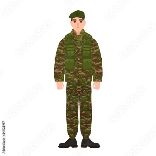 Military man or serviceman dressed in army camouflage uniform Tablou Canvas
