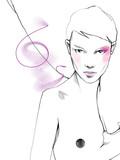 Młoda piękna kobieta ilustracja moda akwarela rysować portret - 241429344