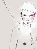 Młoda piękna kobieta ilustracja moda akwarela rysować portret - 241429358