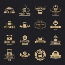 Street Food Logo Icons Set. Simple Illustration Of 16 Street Food Logo Vector Icons For Web
