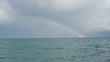 Rainbow in the Mediterranean sea after rain and thunderstorms.