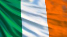 Ireland Flag. Waving Flag Of Ireland 3d Illustration
