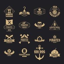 Pirate Logo Icons Set. Simple ...