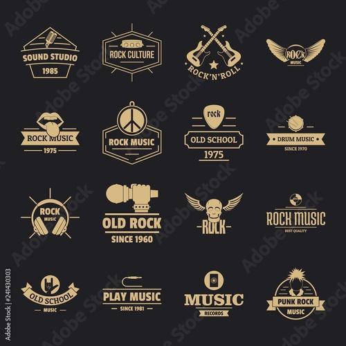 Rock music logo icons set  Simple illustration of 16 rock