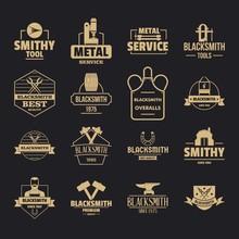 Blacksmith Metal Logo Icons Set. Simple Illustration Of 16 Blacksmith Metal Logo Vector Icons For Web