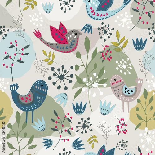 Scandinavian folk art bird pattern design Wallpaper Mural