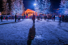 Outdoor New Year's Eve Celebration On The Ice Skating Pond In Canmore