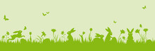 Green Easter Holiday Scene Banner With Bunnies, Eggs, Flowers Vector Illustration