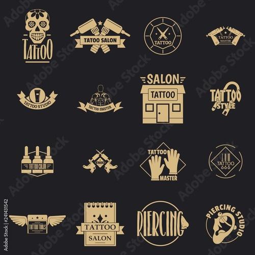 Tattoo logo icons set Canvas Print