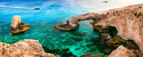 Outstanding beauty of Cyprus. arch bridge (bridge of lovers) near Agia Napa
