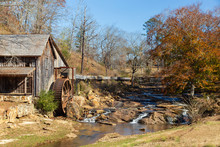 Fall Colors At Gresham Mill With Small Casades In Canton, Georgia