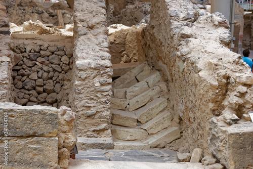 Site archéologique d'Akrotiri, Fouilles, Santorin, Cyclades,Grèce