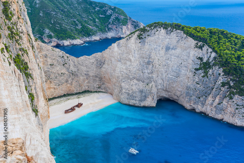 Poster Tropical beach Greece, Zakynthos, Magic navagio beach also called smugglers cove from above
