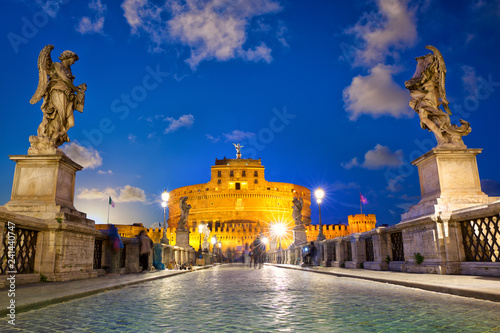 Tuinposter Centraal Europa Castle Sant Angelo and bridge at dusk in Rome, Italy